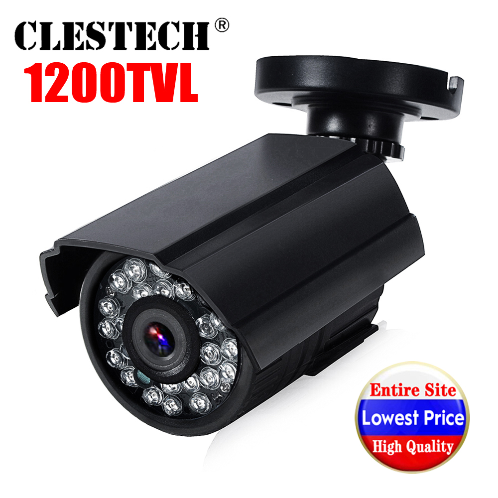 Mini HD Cctv Camera 1200TVL in/Outdoor Waterproof IP66 IR Night Vision CMOS Analog color home monitoring security Have bracket(China)