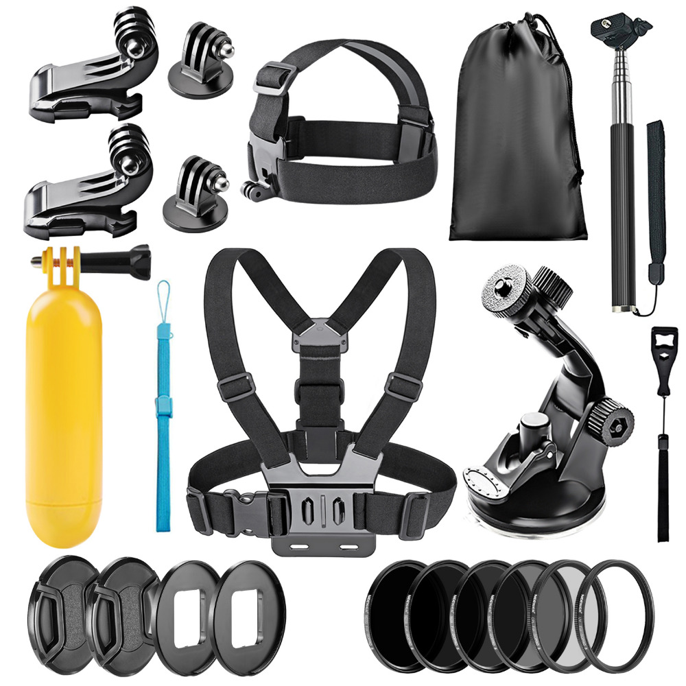 Neewer 22 in 1 Action Camera Accessory Kit for GoPro Hero 5:Chest Strap,Head Strap,Car Suction Cup,Handheld Monopod,Floatin Grip