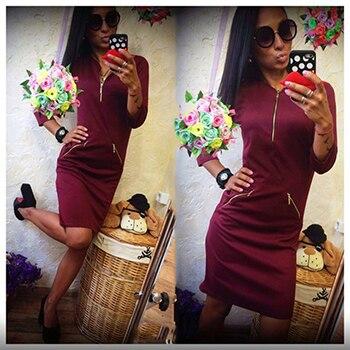 Женские платья 2016 в шеи 3/4 рукавом молнии оболочка сексуальные & клуб платье красный черный вина красные осенние женские платья плюс размер