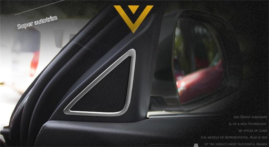 For Audi Q3 2013 - 2017 Stainless Steel More Fashion A Pillar Stereo Speaker Audio Loudspeaker Cover Trim 2 Pcs