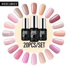 Modelones 20 шт./лот, серия розового цвета, светодиодный Гель лак для ногтей, замачиваемый УФ лак для ногтей, Полупостоянный Гибридный гель для ногтей, эмалевые наборы