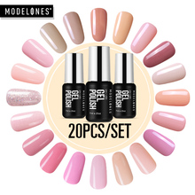 Modelones 20Pcs/Lot Pink Color Series Led Gel Nail Polish Soak Off UV Nail Varnish Semi Permanent Hybrid Gel Nail Enamel Kits