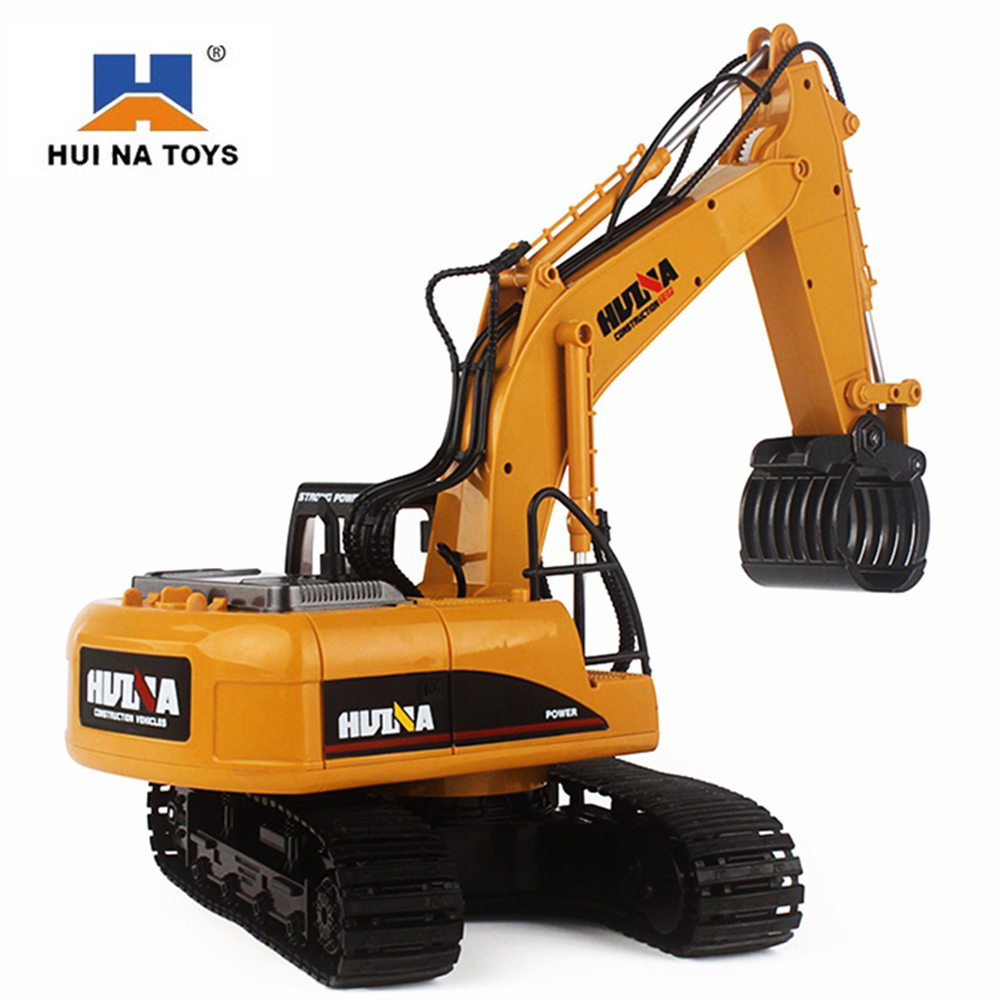 HuiNa 1570 RC Car 2.4G 1/12 RC Excavator 16 Channels Metal Charging RC Car Model Toys Grabbing Machine Auto Demonstration Cars