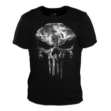 The Punisher Skull Ghost T-shirt Men Black Summer Short Sleeve T Shirts Tops Printing Casual Cotton Tees