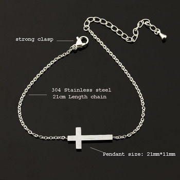 Crucifix Jesus Christian Horizontal Sideways Cross Bracelets for Women Men Stainless Steel Gold Silver Color Bridesmaids Gift 6