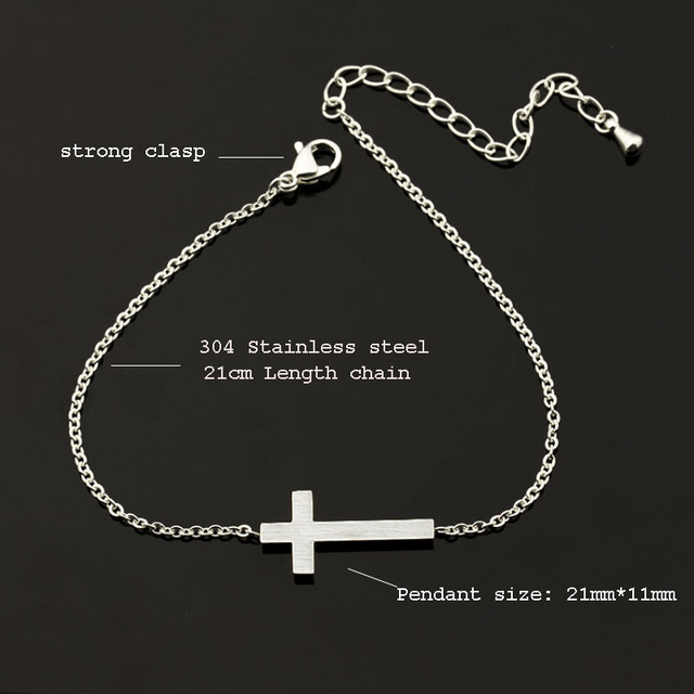 Crucifix Jesus Christian Horizontal Sideways Cross Bracelets for Women Men Stainless Steel Gold Silver Color Bridesmaids
