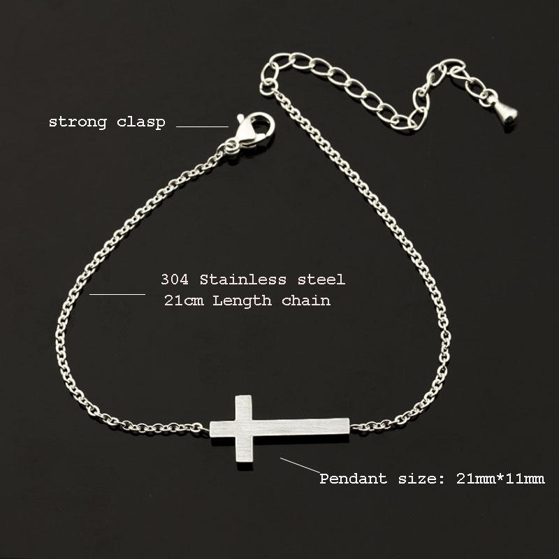 Çarmıx İsa Məsihçi Qadınlar Kişi Üfüqi Səkilərə Gümüş - Moda zərgərlik - Fotoqrafiya 4
