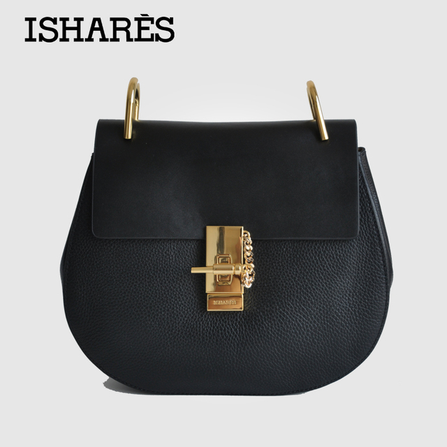 2016 ISHARES New women cute buckle handbags ladies superior cowhide handbags 2 color fashion shoulder bag for female IS8019