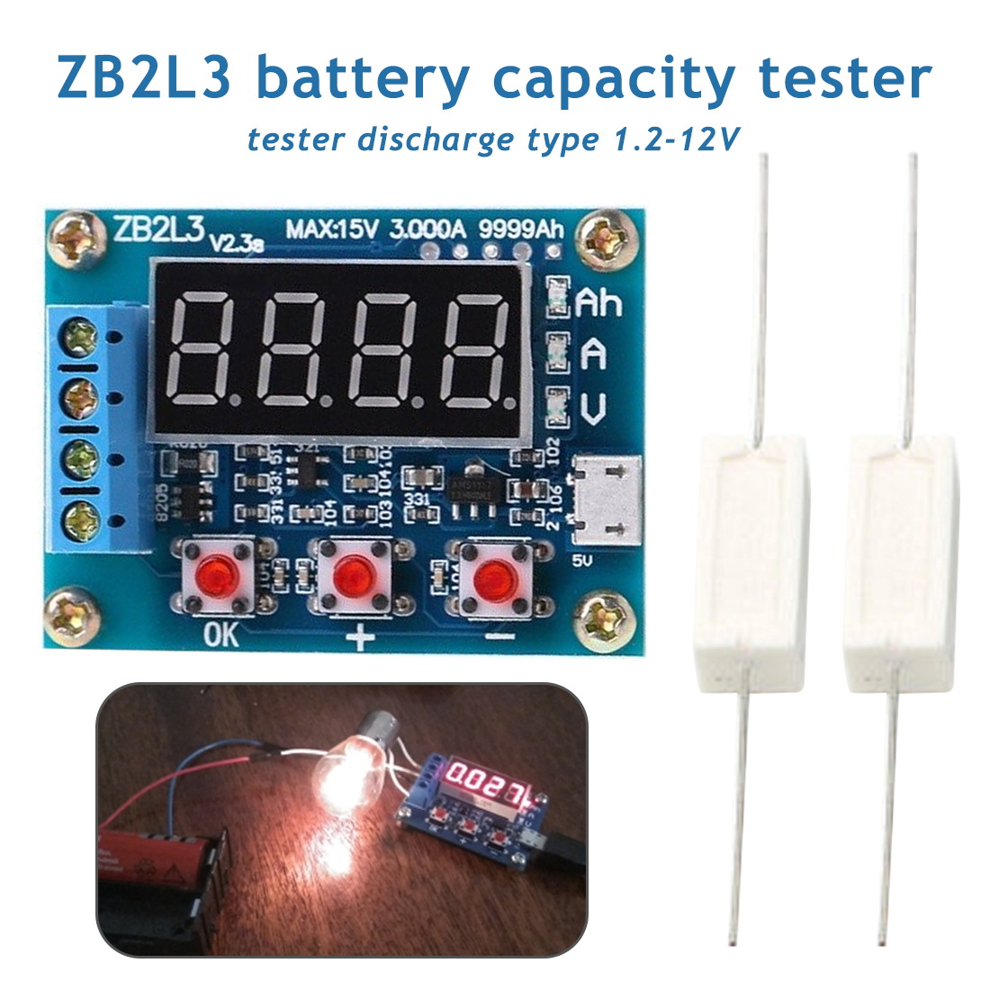 1,2-12 V Zb2l3 Li-ion Lithium-blei-säure Batterie Kapazität Meter Entladung Tester Analyzer Batterie Tester Angenehme SüßE