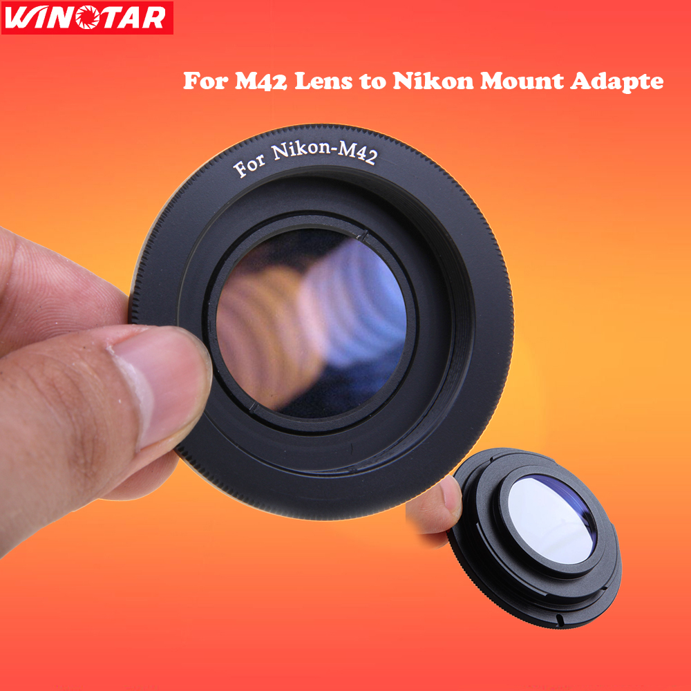 Andoer Lens Adapter Ring for M42 Lens to Nikon Mount Adapter with Infinity Focus Glass for Nikon SLR DSLR Camera