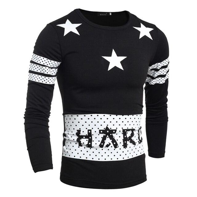 T Shirt Men 2017 Men'S Fashion Star Printing T Shirt Long Sleeve T ...