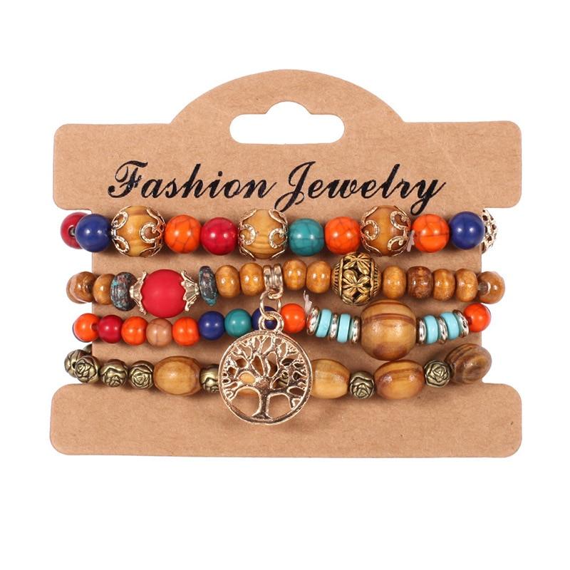 OATHYAN 4 Pcs/set Vintage Ethnic Multilayer Wood Beads Bracelets Set Boho Statement Rose Flower Charm Bracelet For Women Jewelry