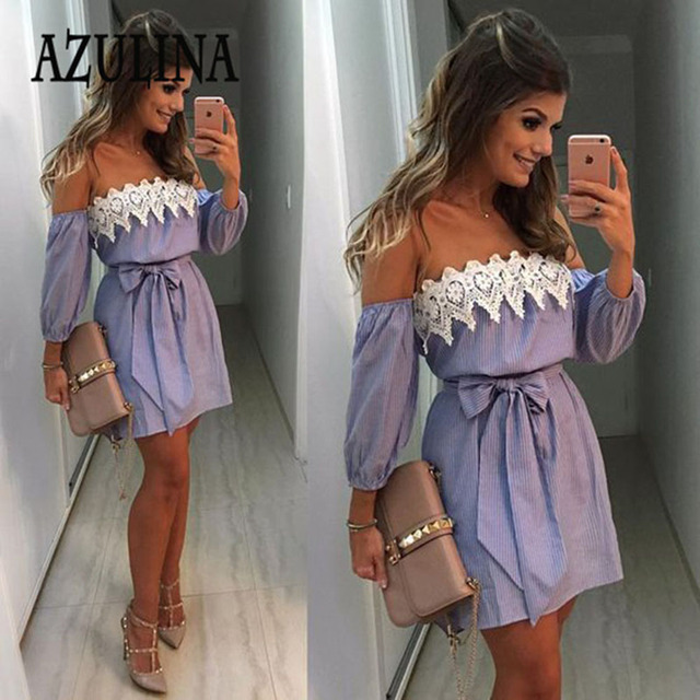 AZULINA Plus Size Elastic Sexy Off Shoulder Blue Striped Mini Dress Women Girl Casual Short White Party Dress With Belt Vestido