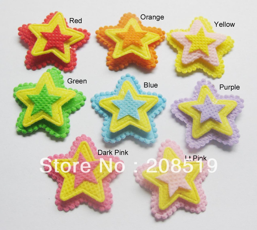 PA0003 Free shipping 8 colors 200pcs 3-layer 32mm Pentagon shape children hair ornament stick-on patches