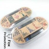 7pc SET With 2 Ink Pen Assorted Vintage Floral Flower Pattern Wooden Rubber Stamp Scrapbook DIY