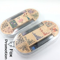7pc SET With 2 Ink Pen Assorted Vintage Floral Flower Pattern Wooden Rubber Stamp Scrapbook DIY