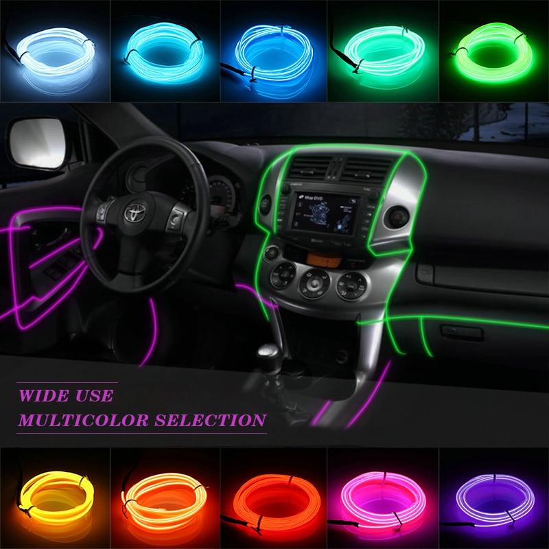 AUTO interior refit light 1m/2m/3m/5m flexible neon light glow el salon wire flat led strip for car With Cigarette lighter Drive