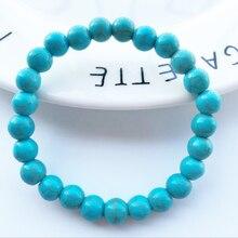 High Quality Blue Natural Turquoises Stone Bracelet Homme Femme Charms 8MM Men Strand Beads Yoga Bracelets Women