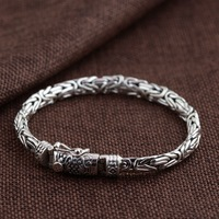 Thai silver wholesale S925 pure silver bracelet peace grain character male money bracelet