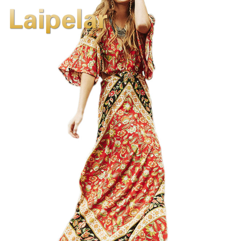 2018 Maxi Longue Robes Sexy Dos Nu Imprimé floral D'été Plage Robe Vintage Gypsy Boho Chic Femmes Robe Robes Baisse Expédiés