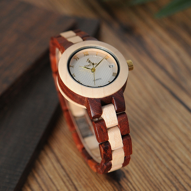 BOBO BIRD M19 Rose Sandal Wood Watch Women Minimal Dress Wristwatch Female Watches Top Brand Luxury 3