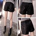 New  pu leather shorts in the fall and winter of female wide-legged leather outside the black Plus size loose b