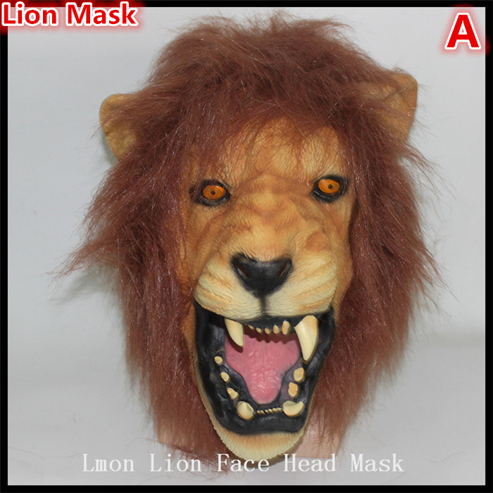 Hot!!! 100% Latex Long Hair Lion Masks Halloween Cosplay Animal Party Mask Adults Scary Latex Mask Masquerade Product Wholesale