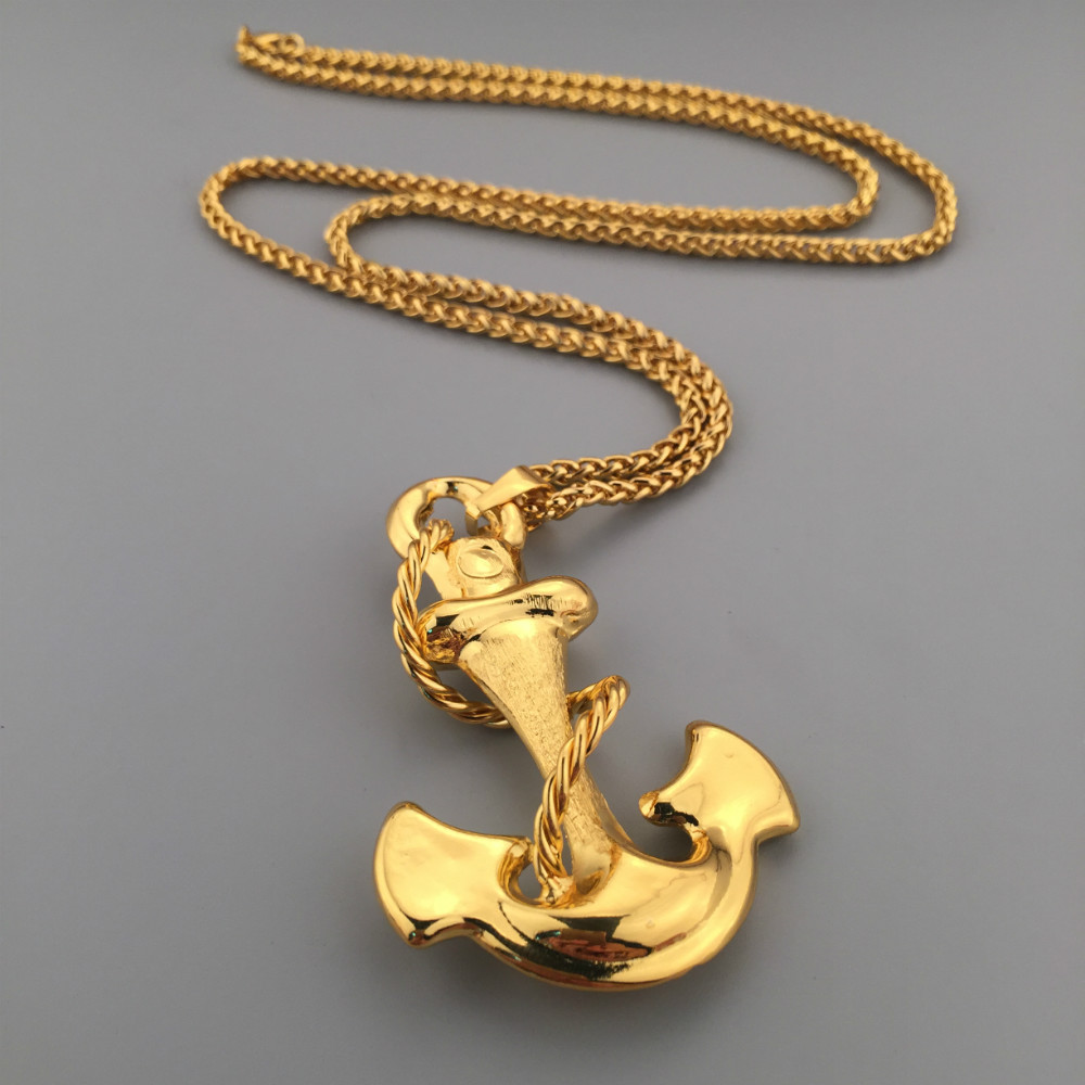 Fashion gold anchor pendant hip hop bling charm good golden cuban fashion gold anchor pendant hip hop bling charm good golden cuban chain necklace mens jewelry free shipping in pendant necklaces from jewelry accessories aloadofball Image collections