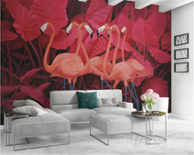 beibehang Custom size Fashion decorative painting papel de parede wallpaper red tropical plant leaves flamingo background mural