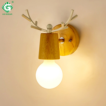 Indoor Wood Wall Lamp Sconces E27 Bulb Night Retro Vintage Industrial Bedside Lights Interior Wooden Down Bedroom Stair Lighting
