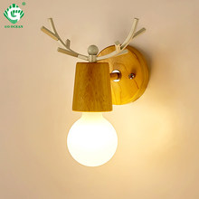 Indoor Wood Wall Lamp Sconces E27 Bulb Night Retro Vintage Industrial Bedside Lights Interior Wooden Down Bedroom Stair Lighting(China)