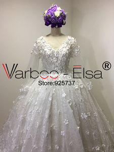 Image 3 - Vestido de baile VARBOO_ELSA, vestido de novia árabe 3D de lujo con apliques y cuentas de encaje de diamante, vestido de novia blanco 2018, vestidos de boda