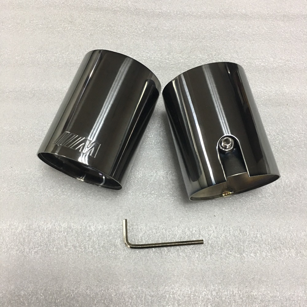 2pcs IN58mm Brand New high quality Car 304 Stainless Black Titanum Exhaust End Tips chrome Black Muffler tips for BMW in Mufflers from Automobiles Motorcycles