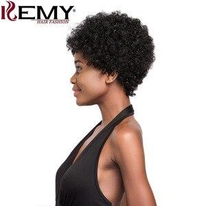 Image 3 - Afro perwersyjne kręcone peruki KEMY włosy krótkie włosów ludzkich peruk dla czarnych kobiet naturalne czarny kolor czerwony brazylijski Non  remy włosy peruki