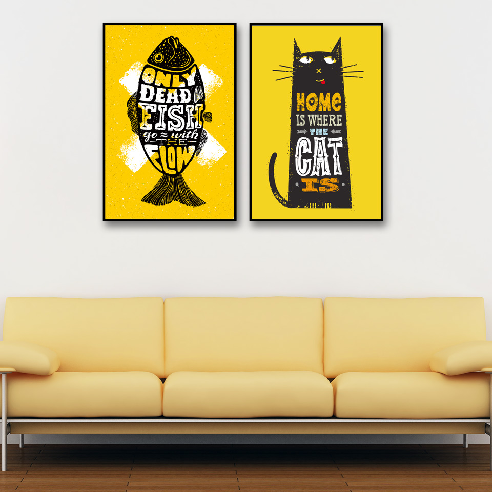Nordic Cat and Bear Baby Yoga Wall Art Canvas Painting A4 Posters ...