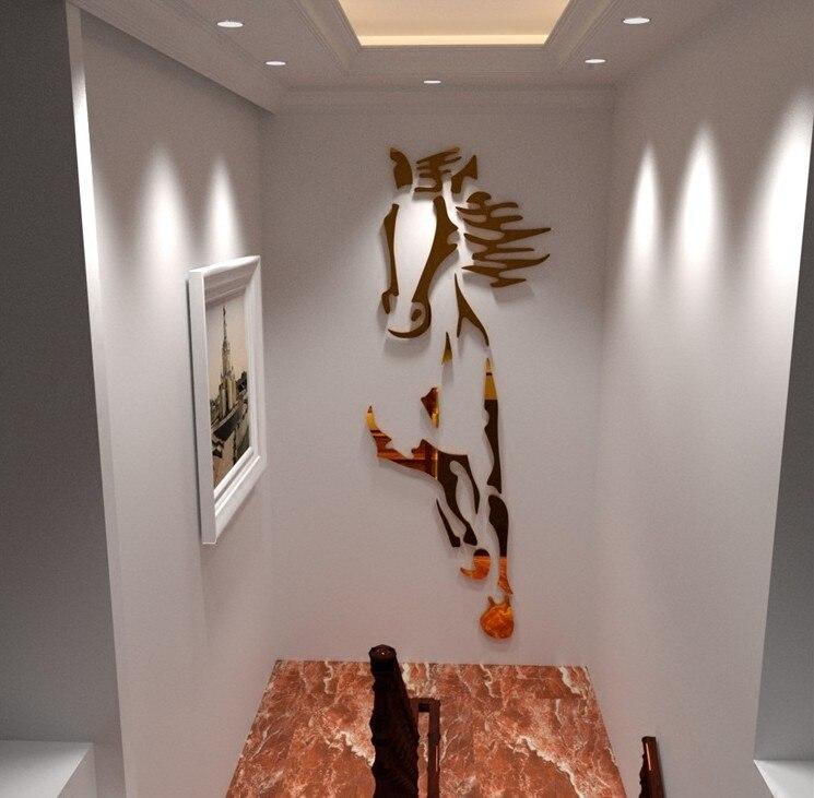 Créatif chevaux salon acrylique 3d mur autocollant Restaurant fond mur décoration nouveauté miroir stickers muraux
