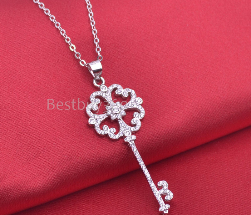 Fashion jewelry 925 sterling silver key necklace flower shape chain containing 45 cm for women cubic zirconia necklace (NM)