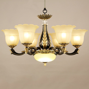 LED américain lustre salon lampes suspendues restaurant luminaires luminaires cuivre éclairage nordique chambre suspension