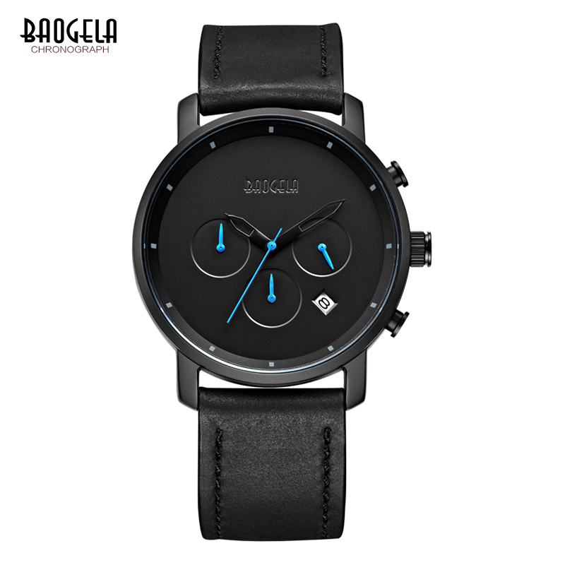 2018 BAOGELA Men Fashion Casual Leather Band Quartz Watch Male Sport Wristwatches Waterproof Watches Relogio Masculino цена