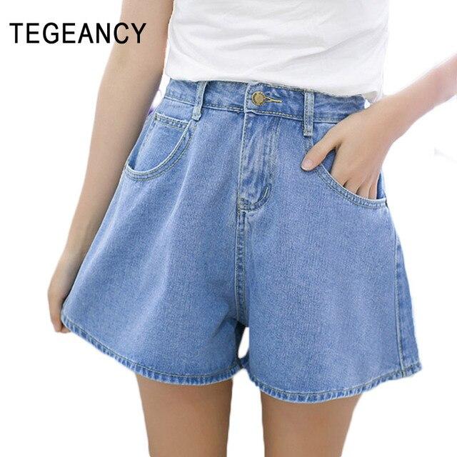 Tegeancy femmes denim short avec taille haute flare court feminino été  coton lâche jambe large jeans e5a6a485213