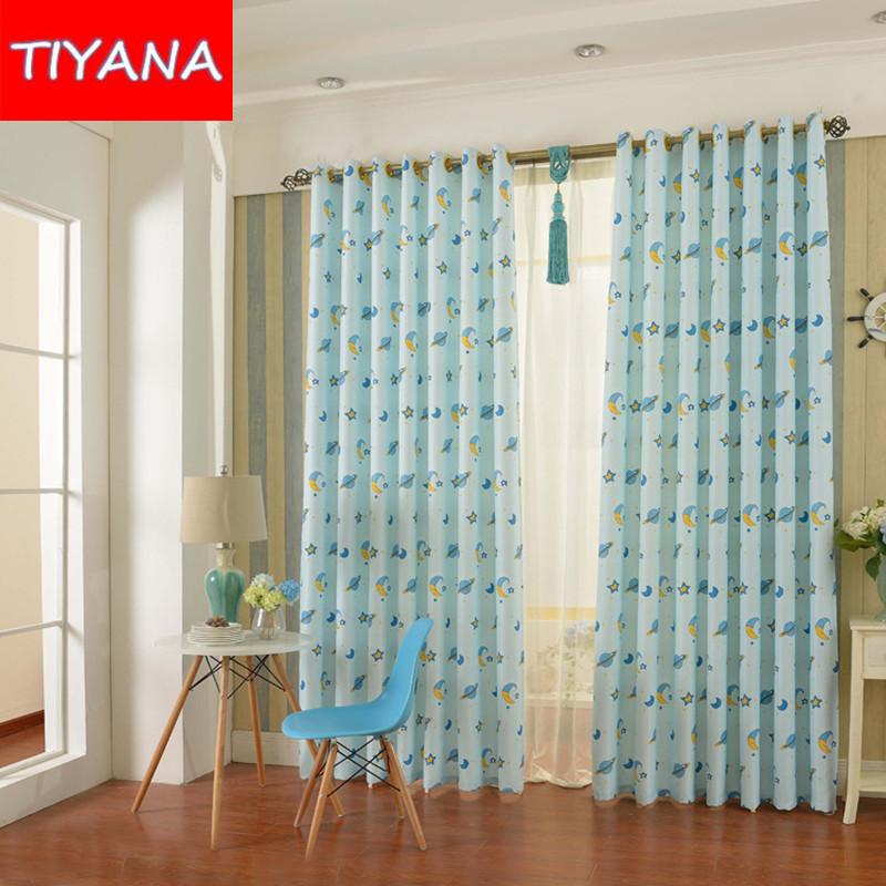 pink mini planeta estrella cortinas persianas cortinas para nios de dibujos animados azul de tela para