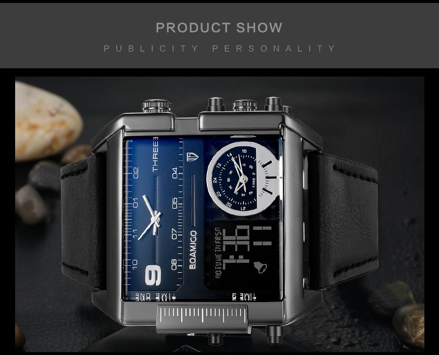 HTB1XdeOl7UmBKNjSZFOq6yb2XXa6 BOAMIGO brand men sports watches 3 time zone big man fashion military LED watch leather quartz wristwatches relogio masculino