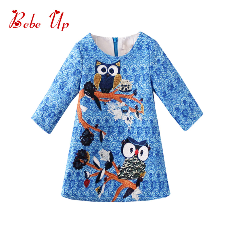 Toddler Girl Dresses Blue Half Sleeve A-line Dresses Girl Owl Print Designer For Children Kids Clothes Cute Party Dress Teenager pink blue adorable cute owl wood clip20pcs