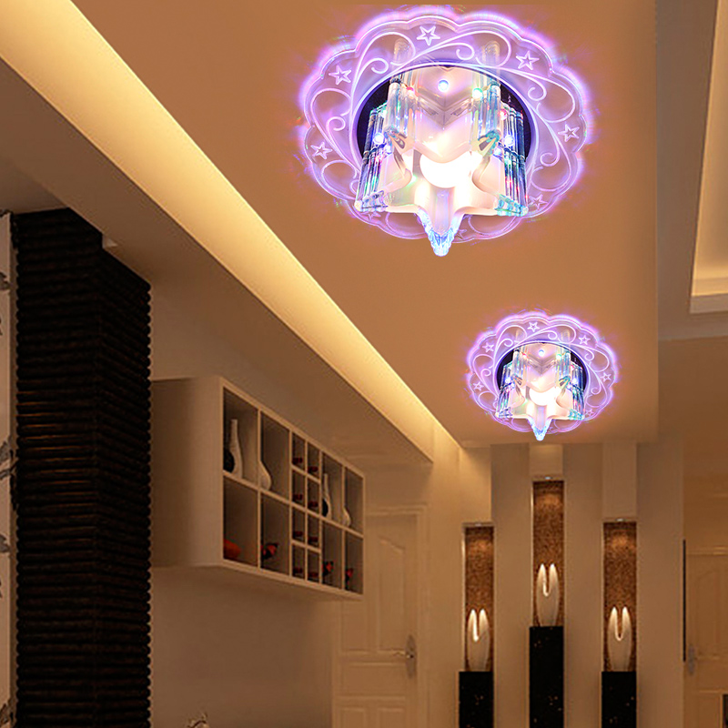 ФОТО Modern LED crystal Five-pointed star ceiling lamp home deco personalized aisle corridor entrance flower ceiling light fixture
