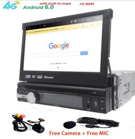 2GB RAM single 1din 7inch touchscreen 4G WIFI Android 6.0 Car GPS FM Radio Stereo head unit Media Player BT USB SD RDS SWC MIC