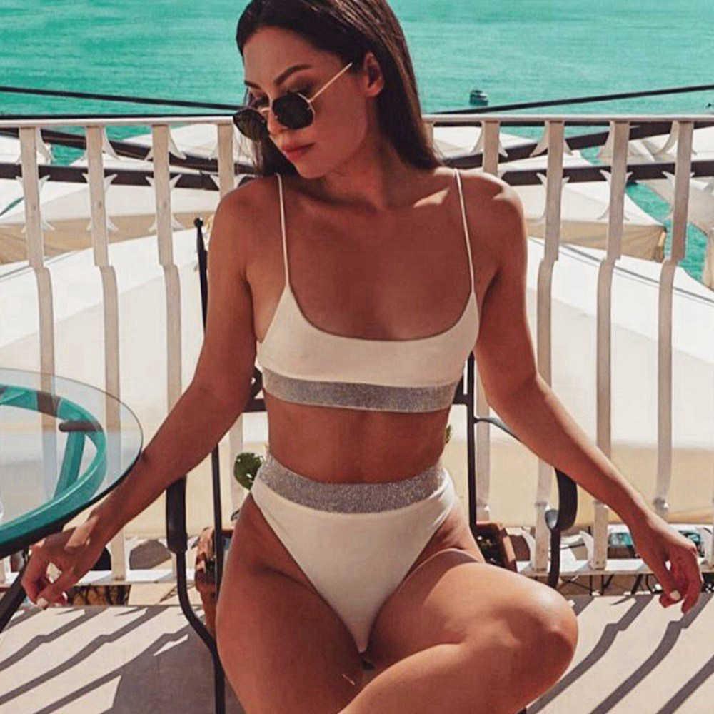 Сексуальный двухкомпонентный Шикарный купальник бикини с высокой талией женский 2018 Спортивное бикини набор Яркие Купальники пуш-ап бикини белый купальный костюм