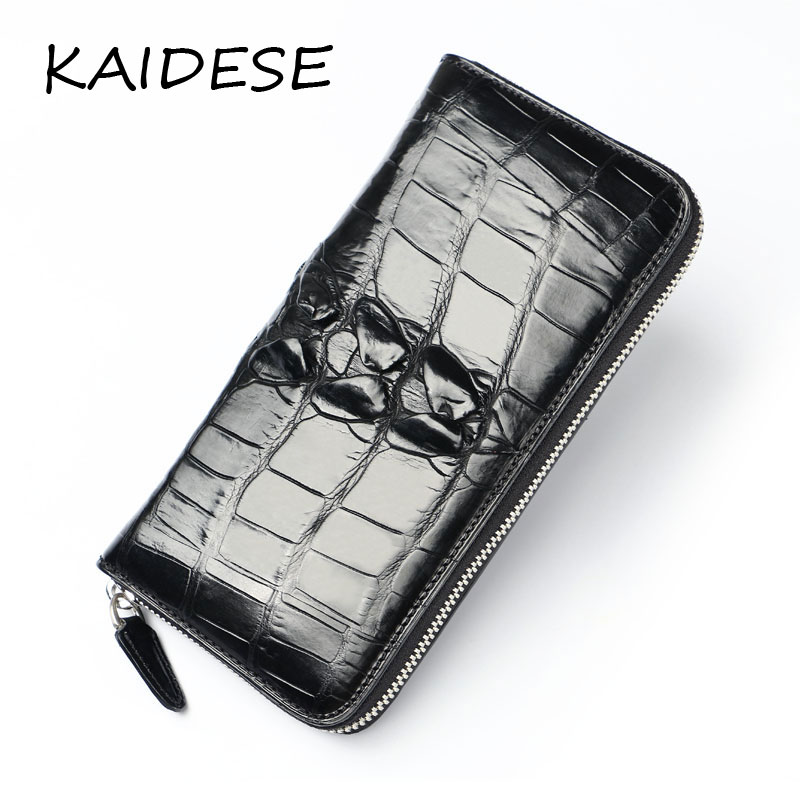 KAIDESE men's Leather Wallet 2017 new luxury high-end crocodile skin, hand bag, handmade leather wallet, long carry bag yuanyu new 2017 hot new free shipping crocodile leather women handbag high end emale bag wipe the gold