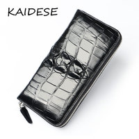KAIDESE men's Leather Wallet 2017 new luxury high end crocodile skin, hand bag, handmade leather wallet, long carry bag