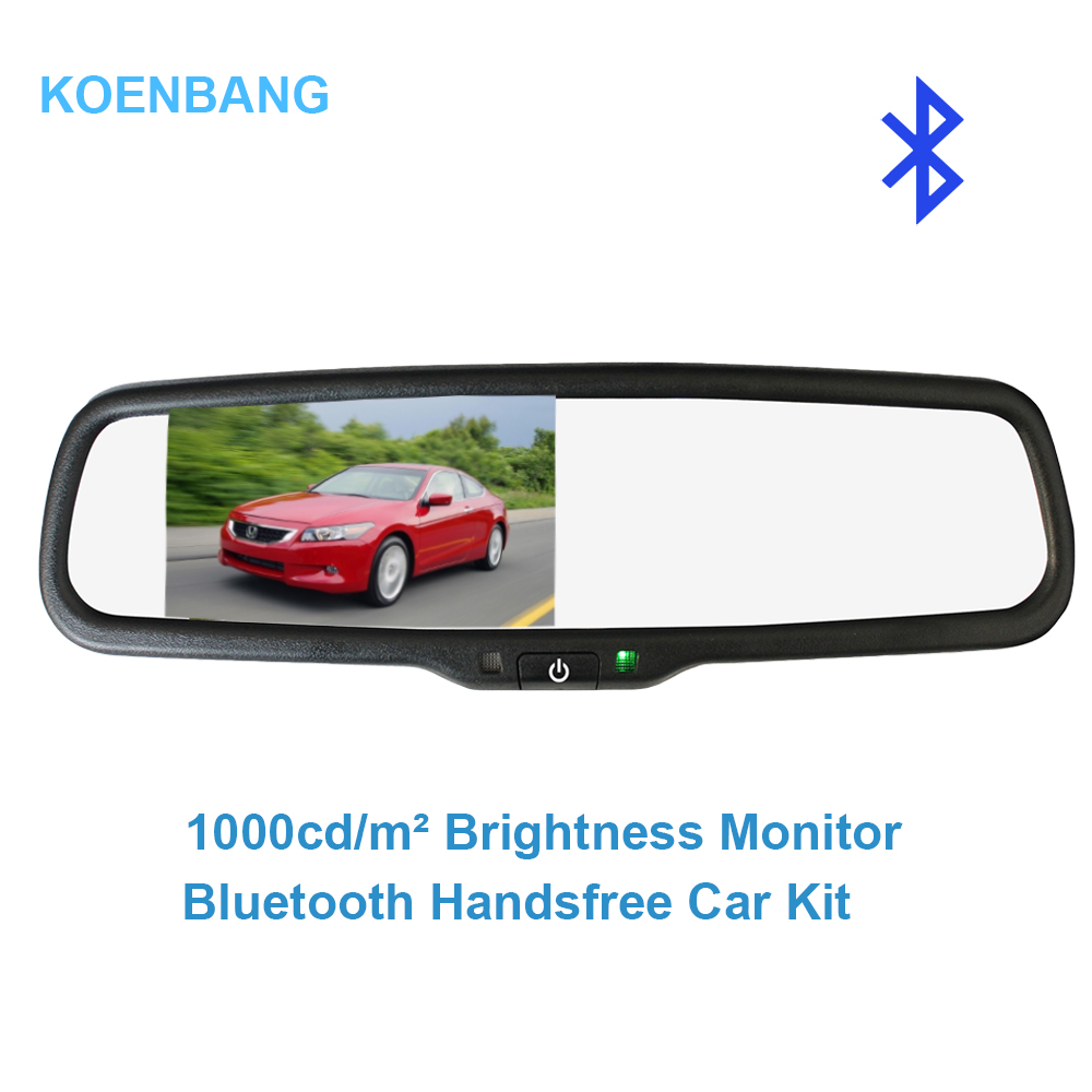 KOENBANG 4.3 TFT LCD Car Rear View Bracket Mirror Monitor Bluetooth Car Kit Parking Assistance With 2 RCA Video Player Input kkmoon 5 tft lcd display car rear view bracket mirror monitor parking assistance with mini camera for car truck bus trailer