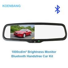 Koenbang 4.3 «TFT ЖК-дисплей заднего вида кронштейн зеркало Мониторы Bluetooth гарнитура для авто Парковочные системы с 2 RCA видео плеер Вход